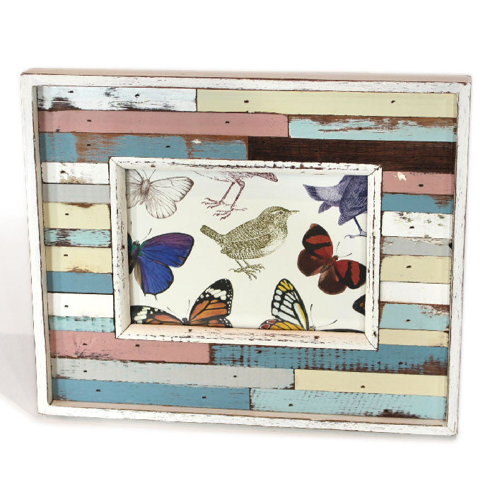 LLI414: Frame Blue/White/Peach - Blue Rooster Trading