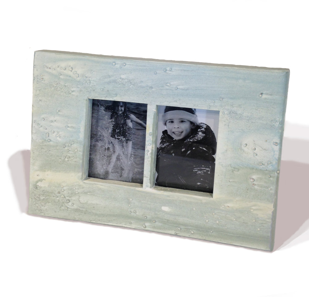 "2-Pic Frame WC Ocean 6.5x9""H - Light Blue"