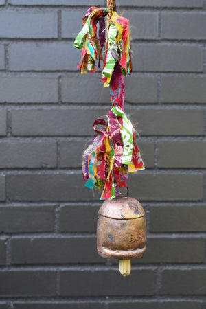 Load image into Gallery viewer, Copper Bell with Vintage Sari Fringe