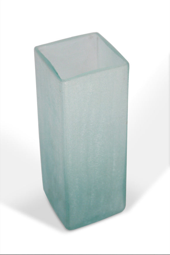 Square Vase Recycled Glass - Frosted Blue