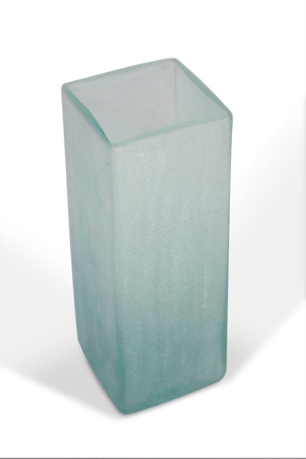 Square Vase Recycled Glass - Frosted Blue - Blue Rooster Trading