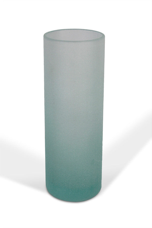 Round Vase Recycled Glass - Frosted Blue