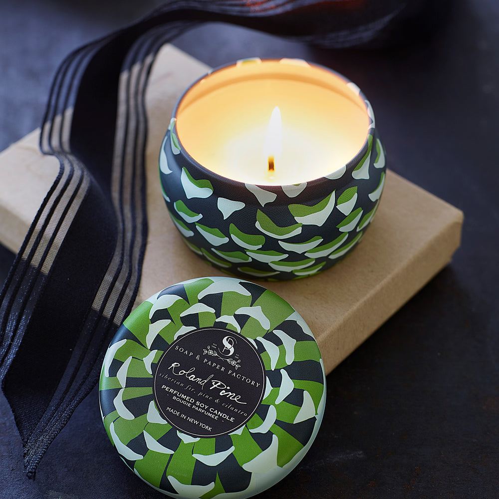 Roland Pine Tin Candle & Soap Gift Set