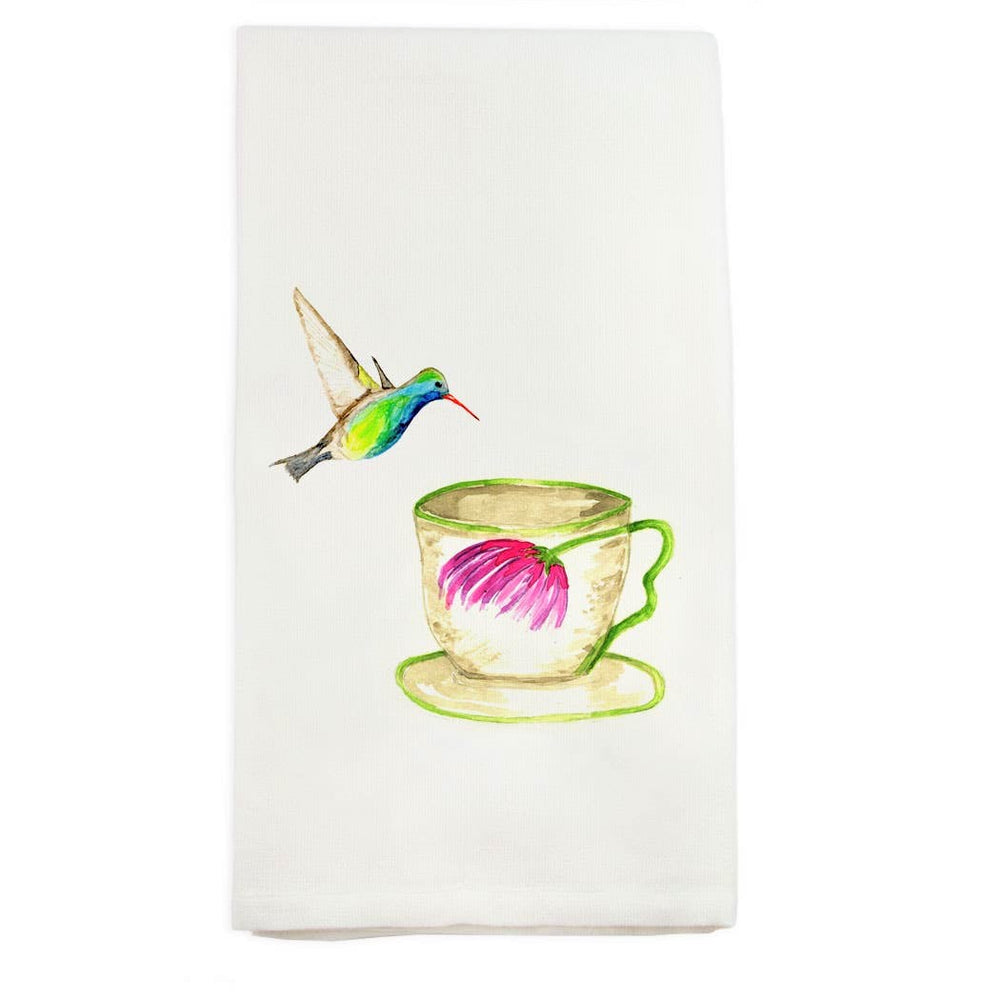 Tea Cup Hummingbird Kitchen Towel