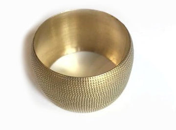 Set of 4 Brass Cylinder Napkin Ring Gold Finish - Blue Rooster Trading