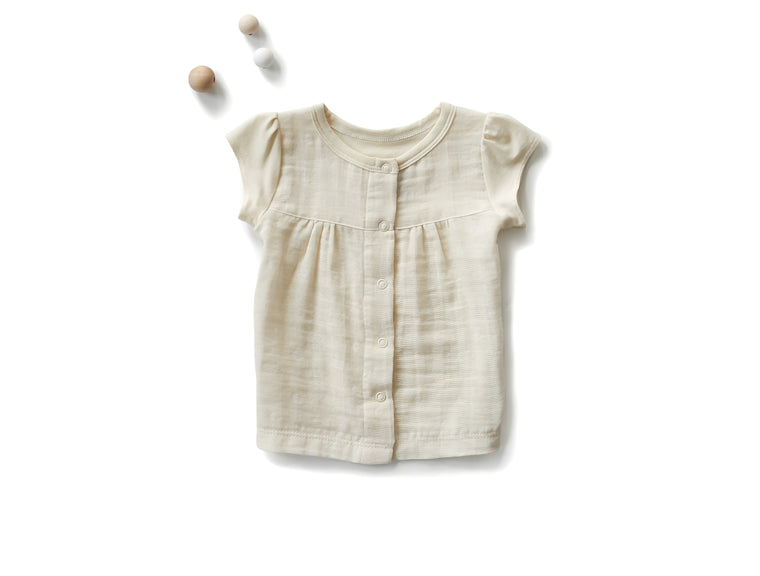 Empire Shirt with Cap Sleeves in Ivory Dots (Infant)