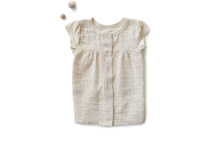 Empire Shirt with Cap Sleeves in Ivory Crescents (Toddler)