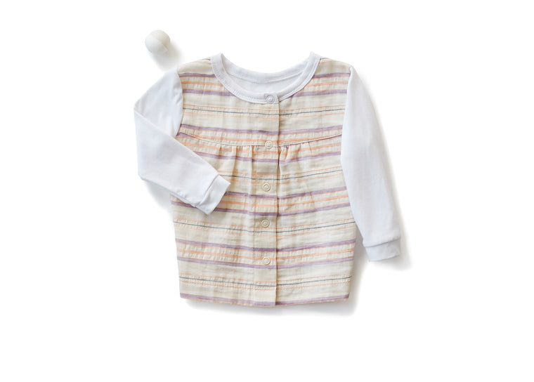 Empire Shirt with Long Sleeves in Striped Off White (Infant)