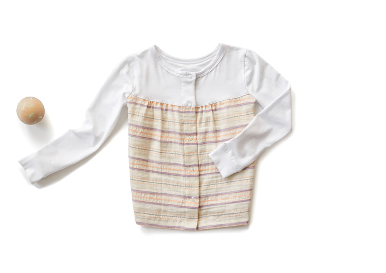 Empire Shirt with Long Sleeves in Striped Off White (Toddler)