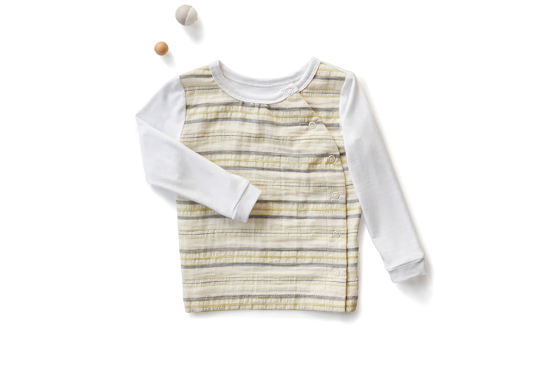 Signature Crew Neck with Long Sleeves in Striped Off White (Infant)