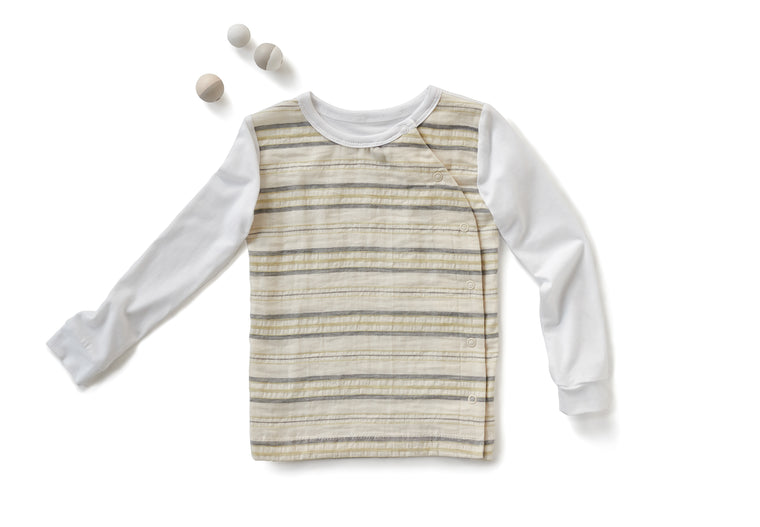 Signature Crew Neck with Long Sleeves in Striped Off White (Toddler)