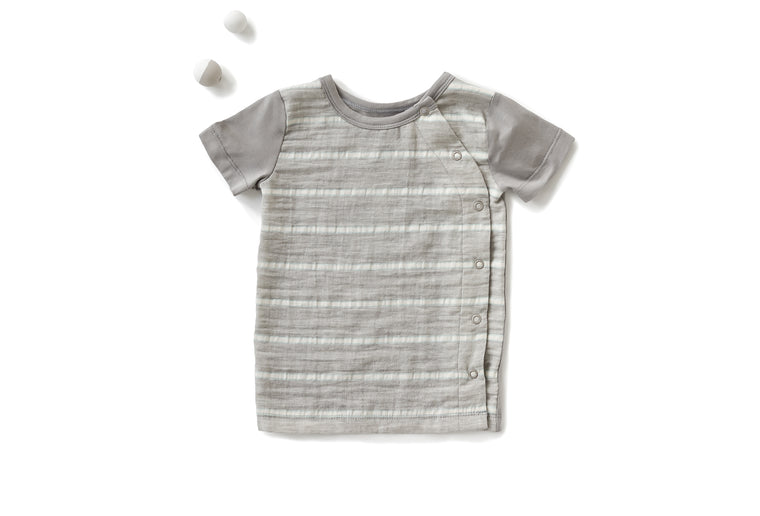 Signature Crew Neck with Short Sleeves in Striped Gray (Infant)