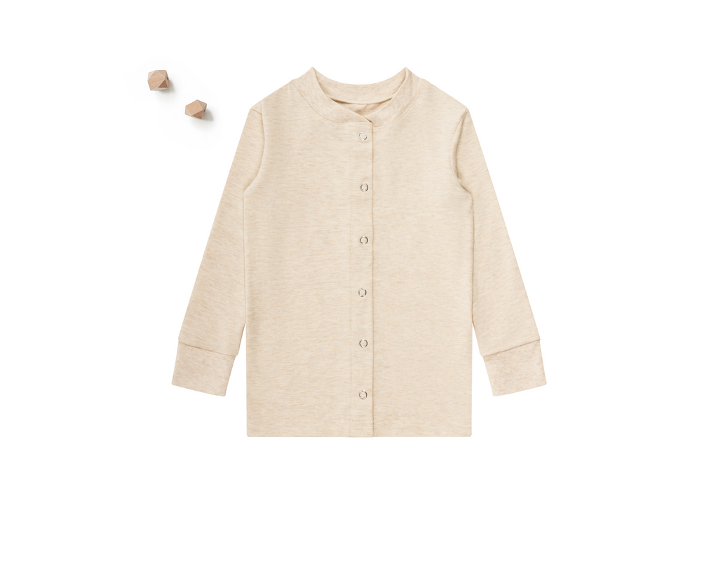 ZO & AV Little Lounge Top Long Sleeve / Pajama Shirt | Heather Beige