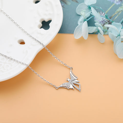 Angel Necklace 925 925k sterling silver gold diamond white rosegold women women's neclace with heart cross life of circle angel wings pandora swarovski gift jewelry birthdayOnthologie fine jewelry Onthologie Onthologie jewelry 18k gold diamond solid sterling silver