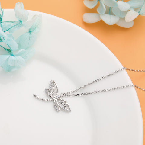 Dragonfly Necklace 925 925k sterling silver gold white diamond swarovski pandora women women's neclace with heart cross life of circle jewelry gift birthdayOnthologie fine jewelry Onthologie Onthologie jewelry 18k gold diamond solid sterling silver
