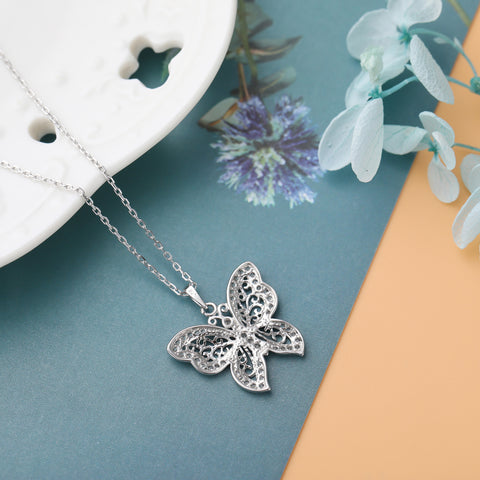 Filigree Butterfly Necklace 925 925k sterling silver gold diamond white rosegold women women's neclace with heart cross circle of life jewelry gift birthdayOnthologie fine jewelry Onthologie Onthologie jewelry 18k gold diamond solid sterling silver