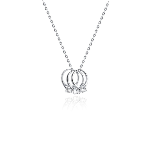 Trio Ceremony Ring Necklace 925 925k sterling silver gold white diamond gemstone women women's neclace with heart cross life of circle necklace gift birthday jewelry
