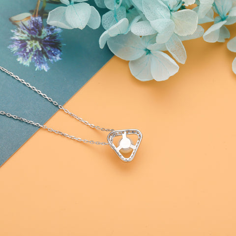 Freshwater Cultured Genuine Pearl Triangle Necklace 925 925k sterling silver diamond gemstone women's neclace heart cross jewelry women circle of life necklace pendant gift birthday 18k goldOnthologie fine jewelry Onthologie Onthologie jewelry 18k gold diamond