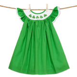 Shamrock smocked bishop dress - St. Patrick's Day green