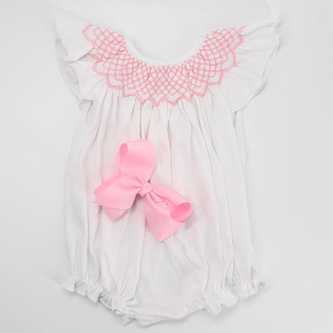 Smocked Knit Baby Romper - Pink Smocking on white