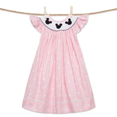 Heart Polka Dot Smocked Mouse Ears Bishop Dress in Pink!