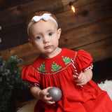 Red Smocked Christmas Tree Dress