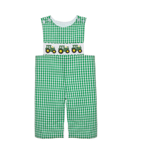 Green Tractor Smocked Longall