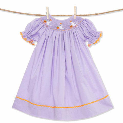 Smocked Halloween Ghost bishop dress