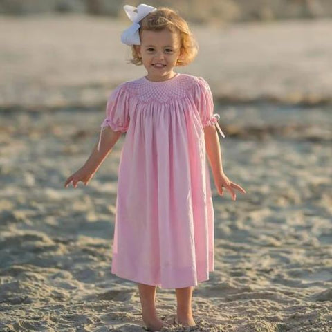 Pink Smocked heirloom Dress with Ribbons on the Sleeves