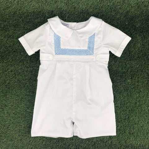 Smocked Heirloom Shortall - White With Blue Stitching