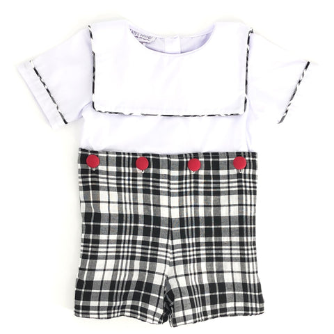 Winter Plaid Boys Shortall Button-on