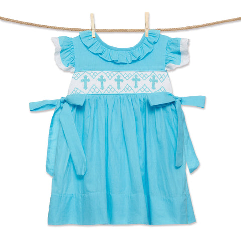 Blue Cross Smocked Emmy Dress