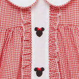 Embroidered Mouse Ears Collared Dress