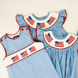 Flag Smocked shortall in light blue gingham