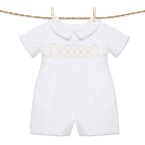 White and Cream Cross Smocked Bubble for Boys