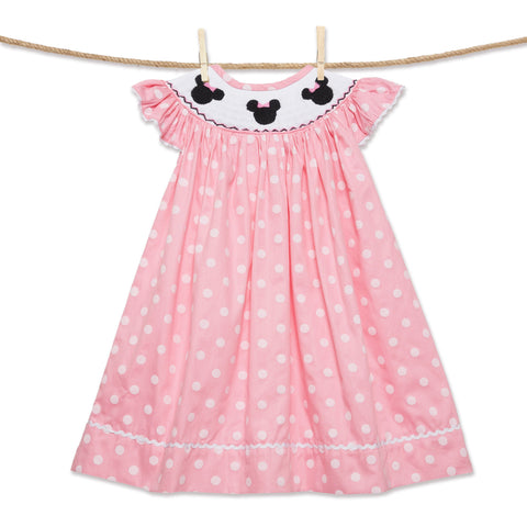 Smocked Mouse Ears Dress - light pink polka dots!