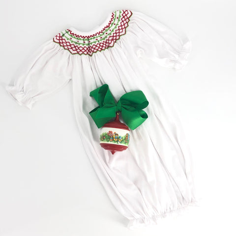 Christmas Smocked Baby Layette Knit Gown