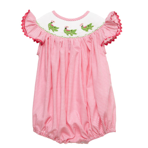Pink Smocked Alligator Romper