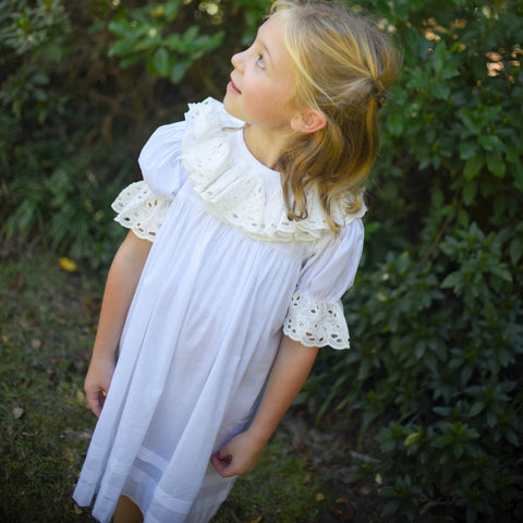 White and Ecru Heirloom Dress with Lace