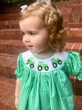 Smocked Green tractor bishop Dress