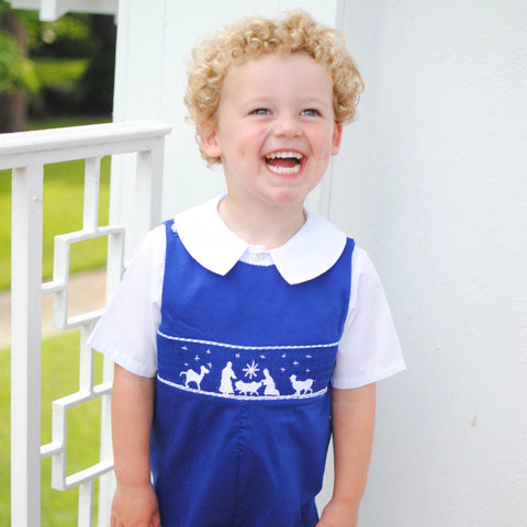 Nativity Smocked Longall in blue