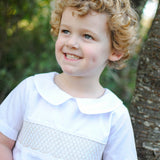 Smocked heirloom shortall - white with cream stitching