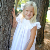 White Flutter Smocked Heirloom bishop Dress