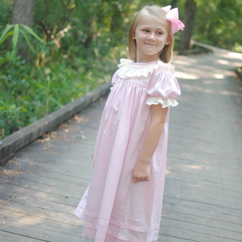 Pink Smocked Heirloom Dress with lace