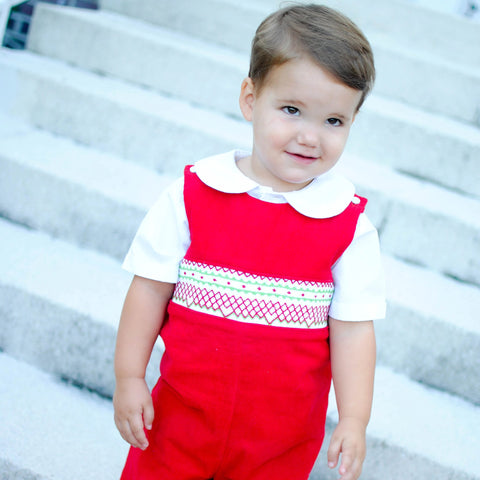 Smocked Christmas Classic Red Corduroy Longall
