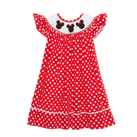 Smocked Mouse Ears Bishop Dress in Red!