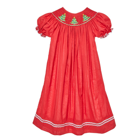 Red Smocked Christmas Tree Dress – Pleats and Stitches