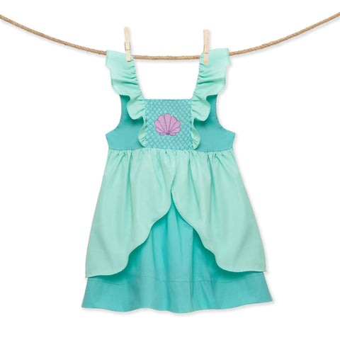 Smocked Mermaid Princess Flutter Sleeve Dress - inspired by Ariel