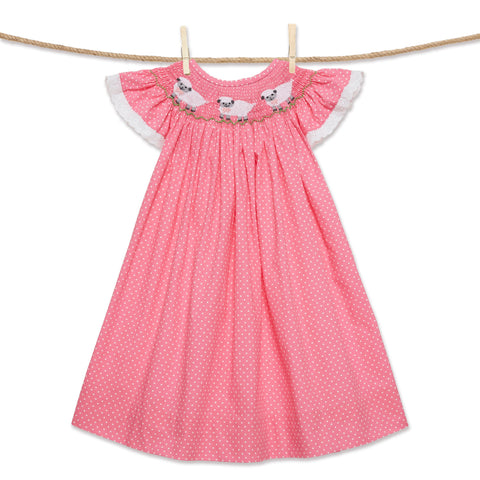 Pink Polka Dot Easter Lamb Bishop Dress