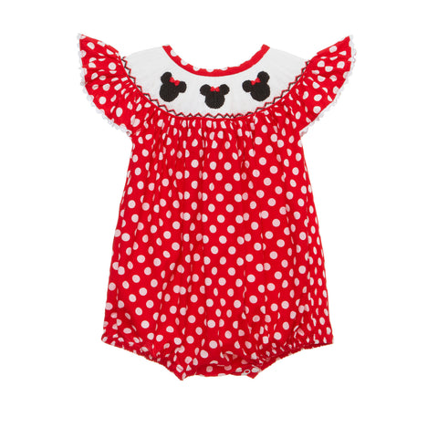 Mouse Ears with Bow Smocked Red Romper